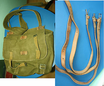 Bread bag Romania Army Thick canvas WW2 similar complete w/ 3 leather straps