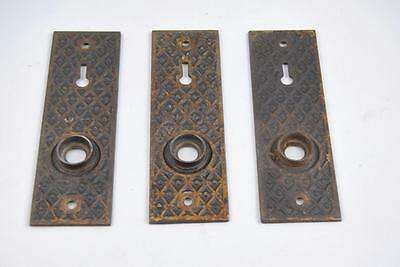 3 Antique Heavy Brass Door Back Plates 5 1/4""
