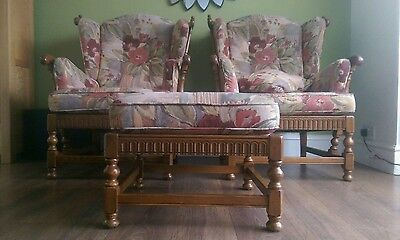 Pair of Ercol Solid Wood High Back Armchairs Plus Footstool