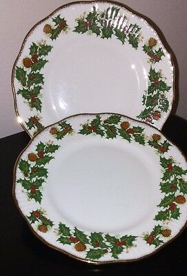"2 Rosina Queen's Yuletide Salad Plates 8.25"" - Exc Cond"