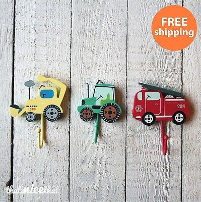 Childrens set of 3 Hooks Boys Room Kids Tractor Fire Engine Tractor Clothes Toys