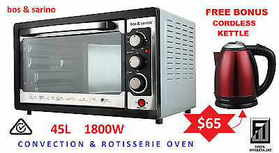 BOS & SARINO 1800W Convection Rotisserie Pizza BBQ Toaster Oven 45L +FREE KETTLE