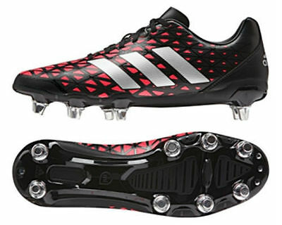 Adidas Kakari Soft Ground Rugby Boots Black Silver Red - AQ2045