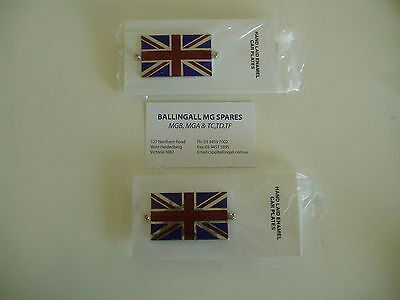 Pair Of Union Jack Badges With Hardware  - Traditional Vitreous Enamel