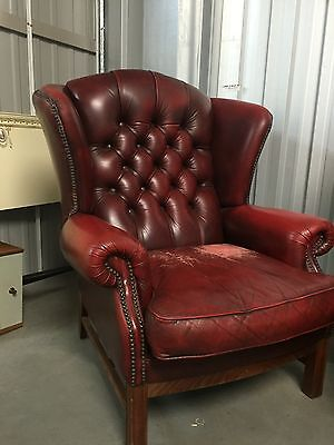 Chesterfield Wing Back Chair , Beautiful Ox Blood Vintage Chair Delivery Poss