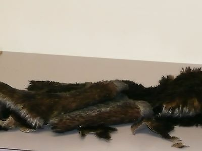 5 Pieces of Black Tipped Brown German Mohair Teddy Bear Fabric