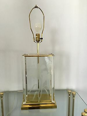 Hollywood Regency Fredrick Ramond Etched Frosted Glass Lucite Brass 1