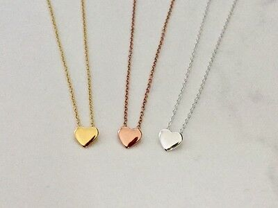 925 Sterling Silver / 18K Gold / Rose Floating Love Heart Necklace Small Pendant