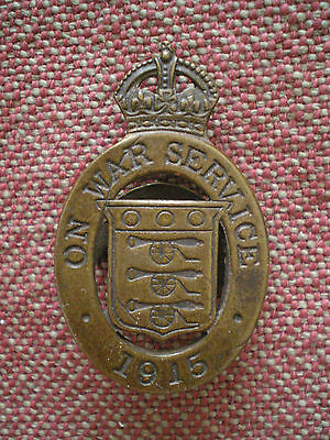 "WW1 BRITISH ON WAR SERVICE 1915 ""U"" ISSUE LAPEL BADGE #I6288 by WYLIE of LONDON"