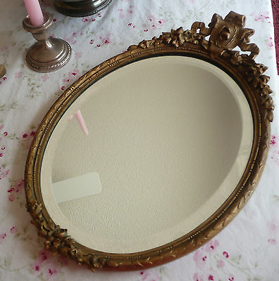 StuNNing Vintage/Antique Gold Gilt Gesso MIRROR/Tray!~Beveled~Barbola ROSES~XLNT