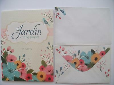 Writing Note Pad Paper & Envelopes New Stationery Set Jardin  20 Sheets pages