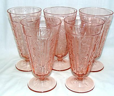 """5 Federal SHARON/CABBAGE ROSE PINK *6 1/2"""" 15 oz FOOTED ICED TEA TUMBLERS*"""