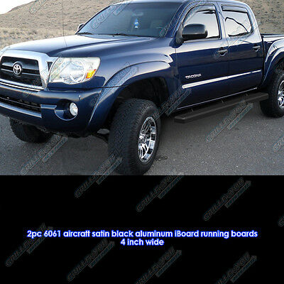 """Matte Black 4"""" iBoard Running Boards Fit 05-17 Toyota Tacoma Double Cab/Crew Cab"""