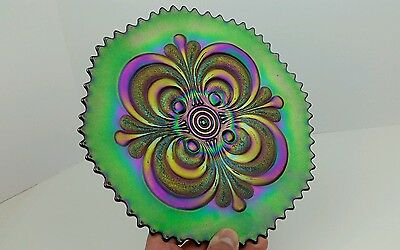 Imperial Scroll Embossed Brilliant Colored Electric Iridescent Amethyst Plate VG