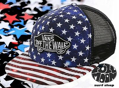 6c7b54516df VANS - TRUCKER Plus Snapback Hat (NEW) Americana STARS STRIPES ...