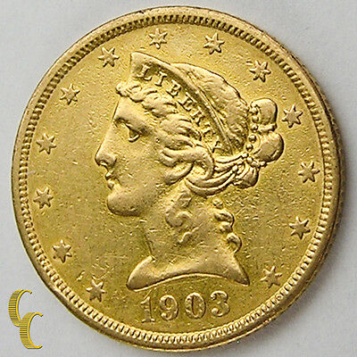 1903-S $5 Gold Liberty Head Half Eagle, XF Condition, Great Numismatic Coin!