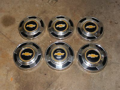Lot Of 6 Vintage Chevy 1/2 Ton Pick UP Hubcaps 1970's-80's Old Truck Dog Dish