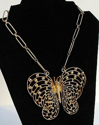 Chunky Vintage Mid Century Mod Gold Toned Butterfly Necklace