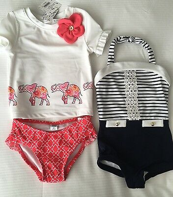 Nwt Janie And Jack Girls' Set Of 2 Swimsuit, Elephant Rash Guard And Retro, 2t