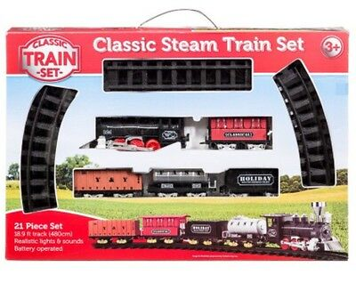 New Giant Classic Steam Train Playset Light & Sound Kid Christmas Gift
