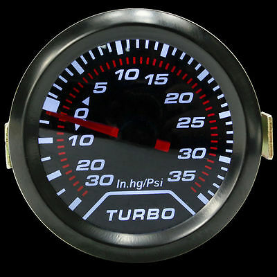 2″ 52mm Universal White Digital LED Turbo Boost Meter Gauge Smoke Tint Lens Psi