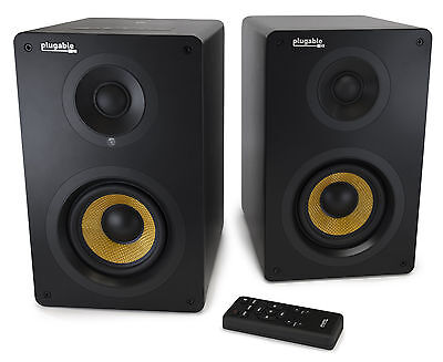 Plugable Bluetooth BT Stereo Monitors Bookshelf Speakers with Remote BT-BOX4S