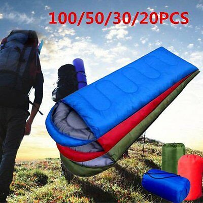 100PCS Waterproof Adult 3 Season Camping Hiking Portable Envelope Sleeping Bag