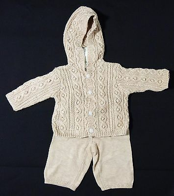 NEW Janie and Jack Layette Tan Hooded Cardigan Sweater Pants Set Baby 0-3 months