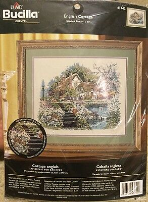Bucilla Crewel Embroidery Kit 43742, English Cottage, Andres Orpinas, Sealed