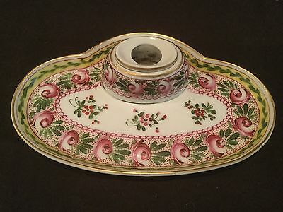 Antique Sevres 3 Piece Inkwell With Pink Roses And Yellow Border