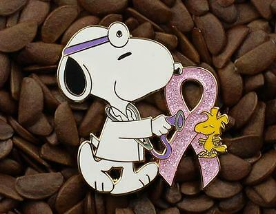 Snoopy & Woodstock Sparkle Pink Ribbon Pins Peanuts Doctor Pin