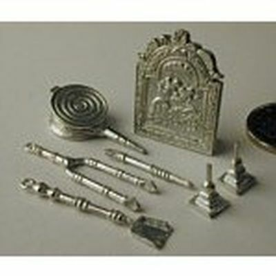 Dollhouse Miniature Vintage Fireplace Set in Pewter