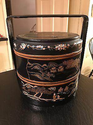 Gorgeous Antique Ornate Hand Painted 3 Tiered Lacquered Lacquer Chinese Basket