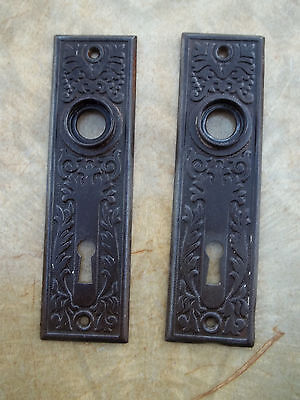 "Pair Ornate Victorian Door Knob Steel Backplates,  1 1/2"" by 5 1/2"", Free S/H"