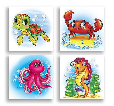 Animal Wall Art Sea Turtle Crab Octopus Sea Horse Children Art Kids Bath Decor
