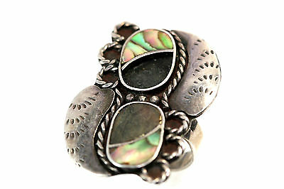 "C052 Sterling Ring top 1 3/8x1"" 925 OLD Taxco Mexico Onyx Abalone 7g size 7 1/2"