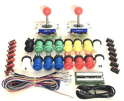 Arcade Pack,  2 Zippy Joysticks, 16 Buttons and I-Pac 2 with Wiring