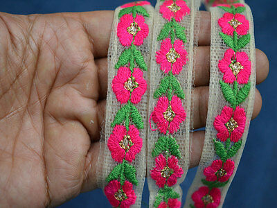 Hot Pink Green Embroidered designer Trims on off white net Fabric