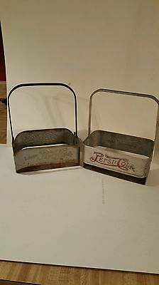 Pair of different double dot metal Pepsi-Cola advertising bottle carriers