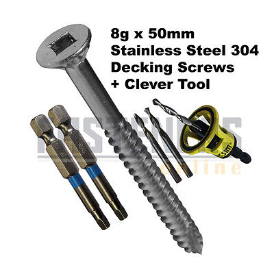 1000pcs - 8g x 50mm Stainless Steel Decking Screw Kit With Clever Tool