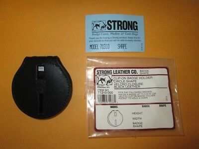 Strong Leather 71310-0002 Black Clip-On Round Badge Holder/Case