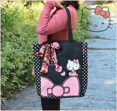 Lady Or Girls Hello Kitty Shoulder Bag tote Bag Beach Bag 2 Zip Pockets