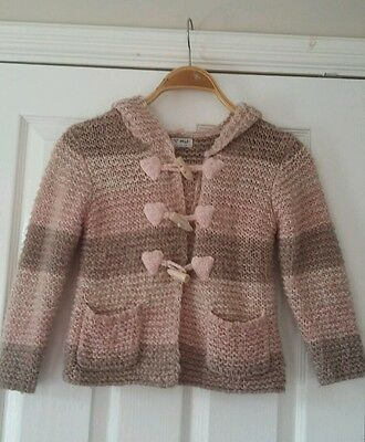 NEXT Girls Pink Knitted Button Detailed Jacket with Hood Age 4-5