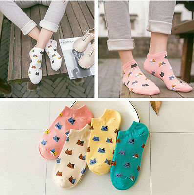 4 Pairs Women's Girls Sports Casual Cute Cat Ankle High Low Cut Cotton Socks New