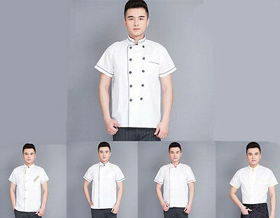 Hot Short Sleeve Cook Working Restaurant Hotel Uniform Clothes Summer Chef Coat