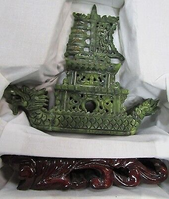 Vintage Jade Hand Carved Boat with Wooden Stand, As is