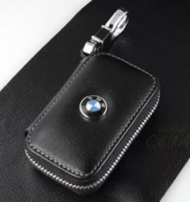 BMW Leather Key Cover Case Holder Key Ring Chain Fob Total Black !