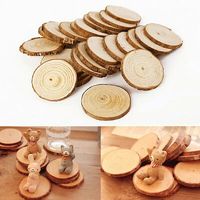 25 Pcs Round Natural Rustic Wooden Discs with Bark Surround DIY Crafts Wedding