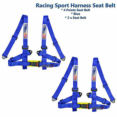 Racing Sports 4 Point 2 Inch Harness Seat Belt Race Safety Belt Blue 1 Pair