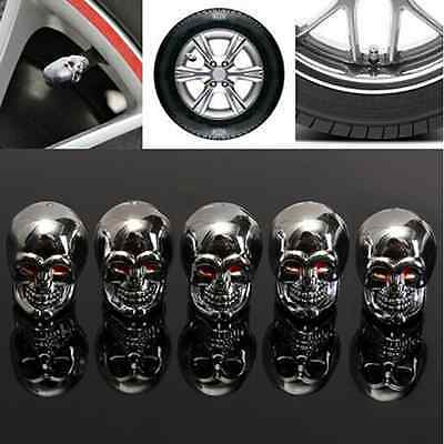 Lot5Pcs Red Eyes Evil Skull Tyre Tire Air Valve Stem Dust Cap For Car Bike Truck